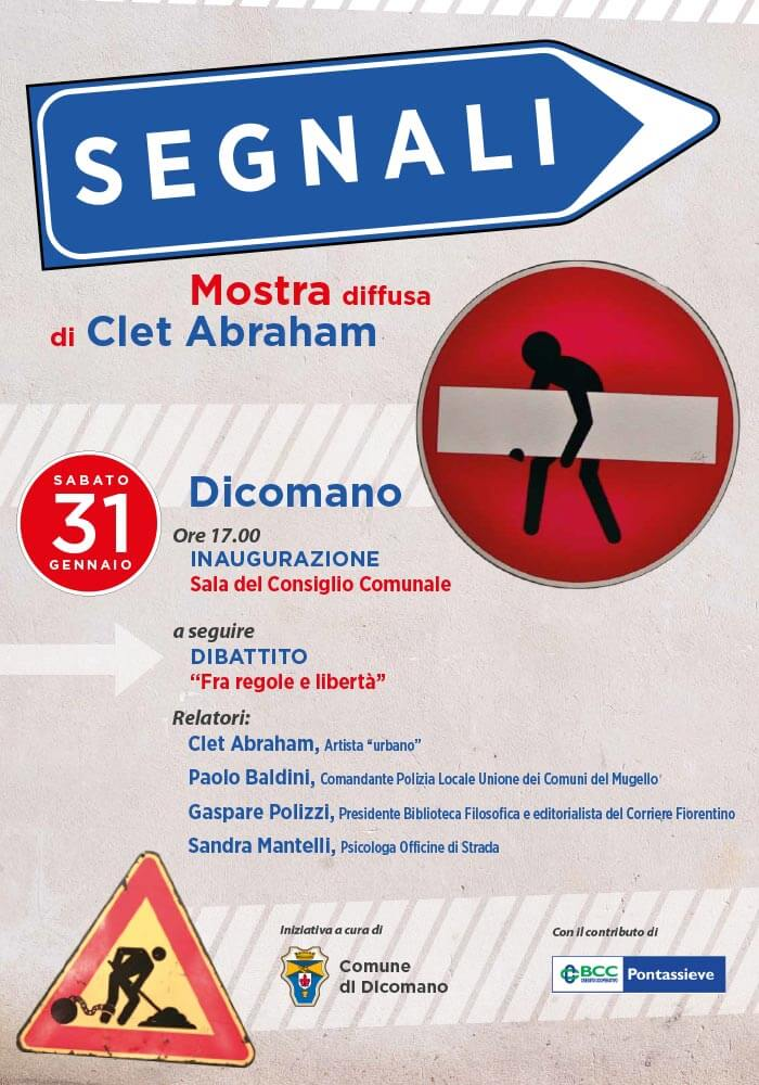 Manifesto per mostra dell'artista Clet nel comune di Dicomano (Fi)