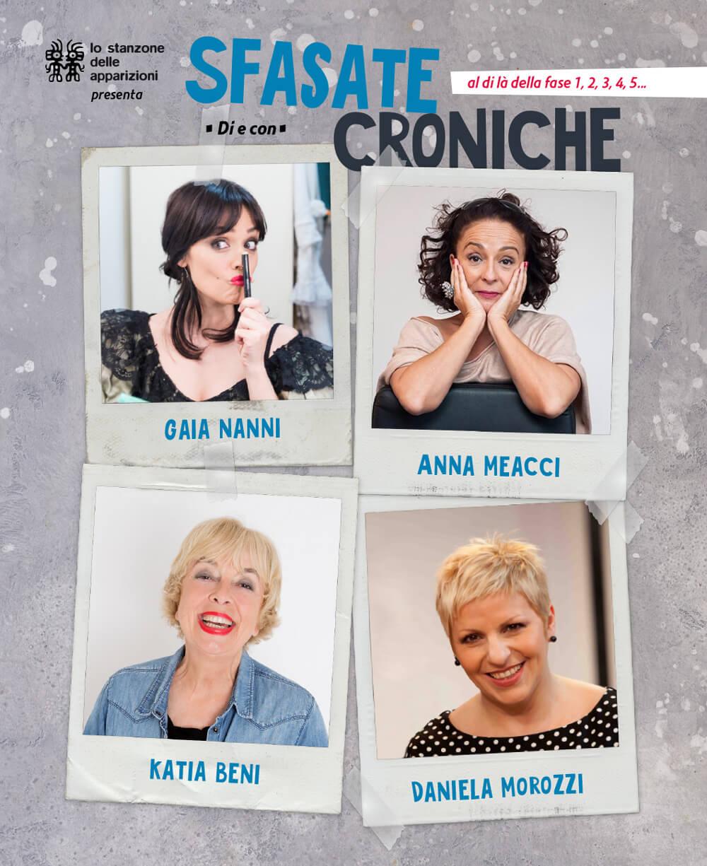 Sfasate croniche, poster per spettacolo teatrale con Gaia Nanni, Daniela Morozzi, Katia Beni e Anna Meacci