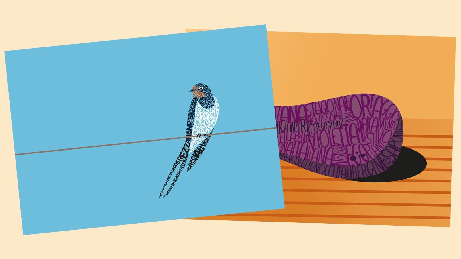 illustrazioni per menu cartolina Ristorante Le Tre Rane Ruffino